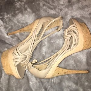 Gently used H by Halston Leather & Cork Platforms